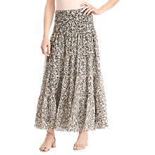 Buy Lauren Ralph Lauren Moriah Floral Tiered Ruffle Maxi Skirt, Pink/Multi Online at johnlewis.com