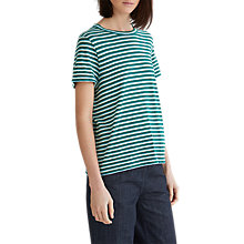 Buy Toast Triple Stripe Cotton and Linen T-Shirt, Botanical Green/Multi Online at johnlewis.com