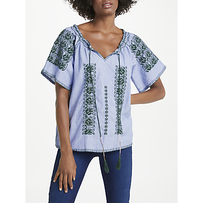 Denim Wardrobe by Trilogy Amos Embroidered Top, Blue