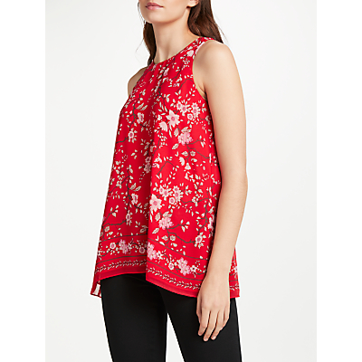 Max Studio Sleeveless Hollyhock Printed Top, Red/Pink