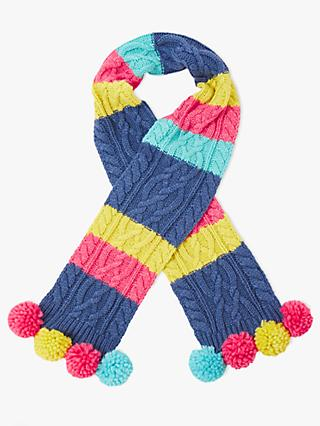 John Lewis & Partners Children's Colour Block Cable Knit Scarf, Multi