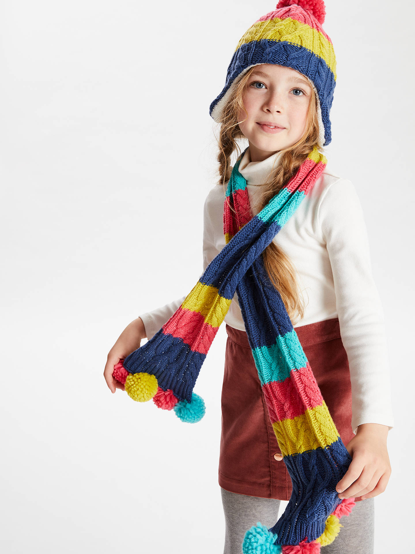 BuyJohn Lewis & Partners Children's Colour Block Cable Knit Scarf, Multi Online at johnlewis.com