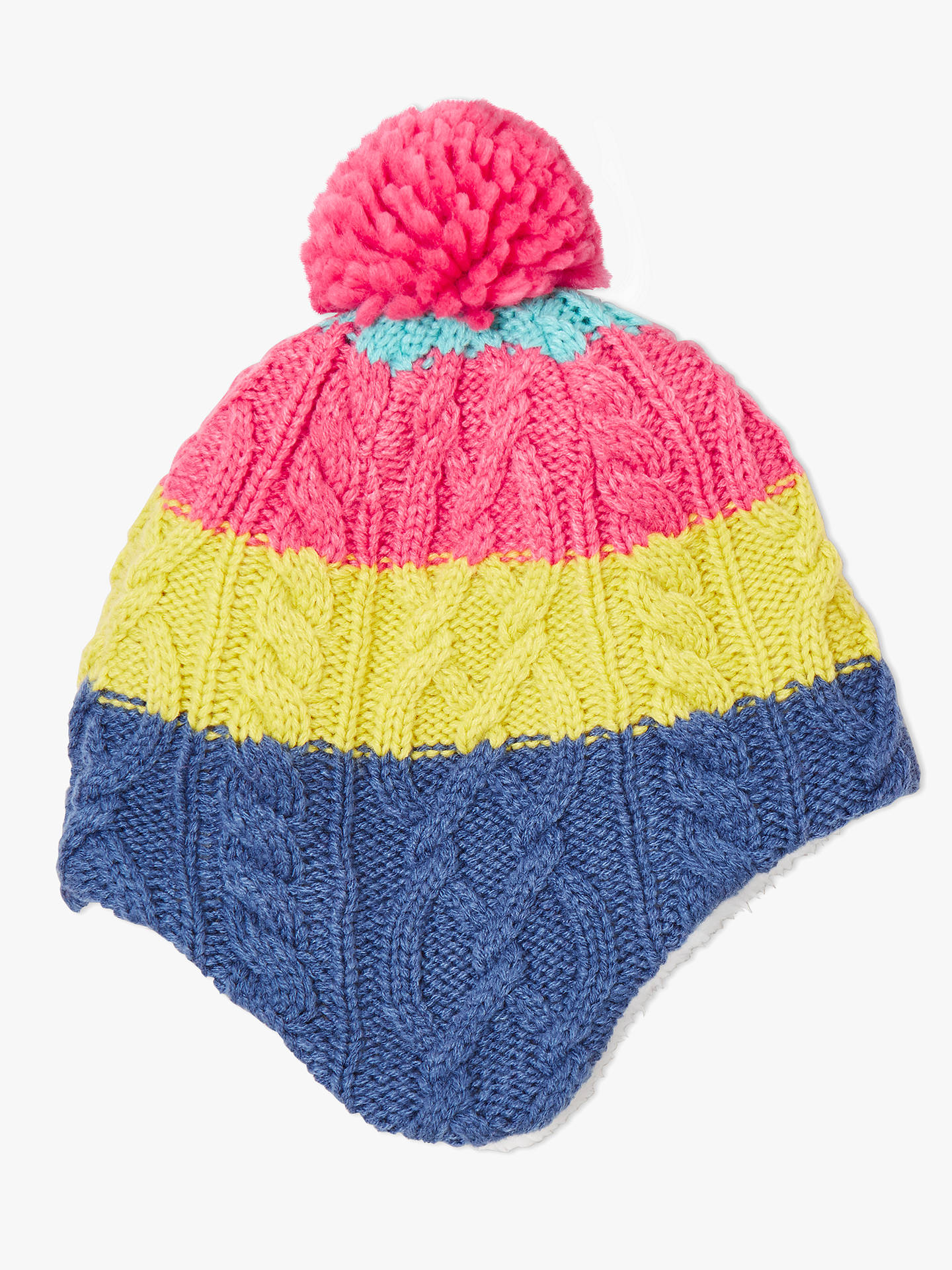 32fa483249f John Lewis   Partners Children s Colour Block Cable Knit Trapper Hat ...