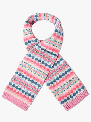 John Lewis & Partners Children's Fairisle Scarf, Pink/Multi