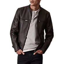 Buy Reiss Sunset Leather Jacket, Black Online at johnlewis.com