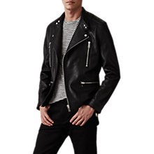 Buy Reiss Hemming Quilted Leather Jacket, Black Online at johnlewis.com