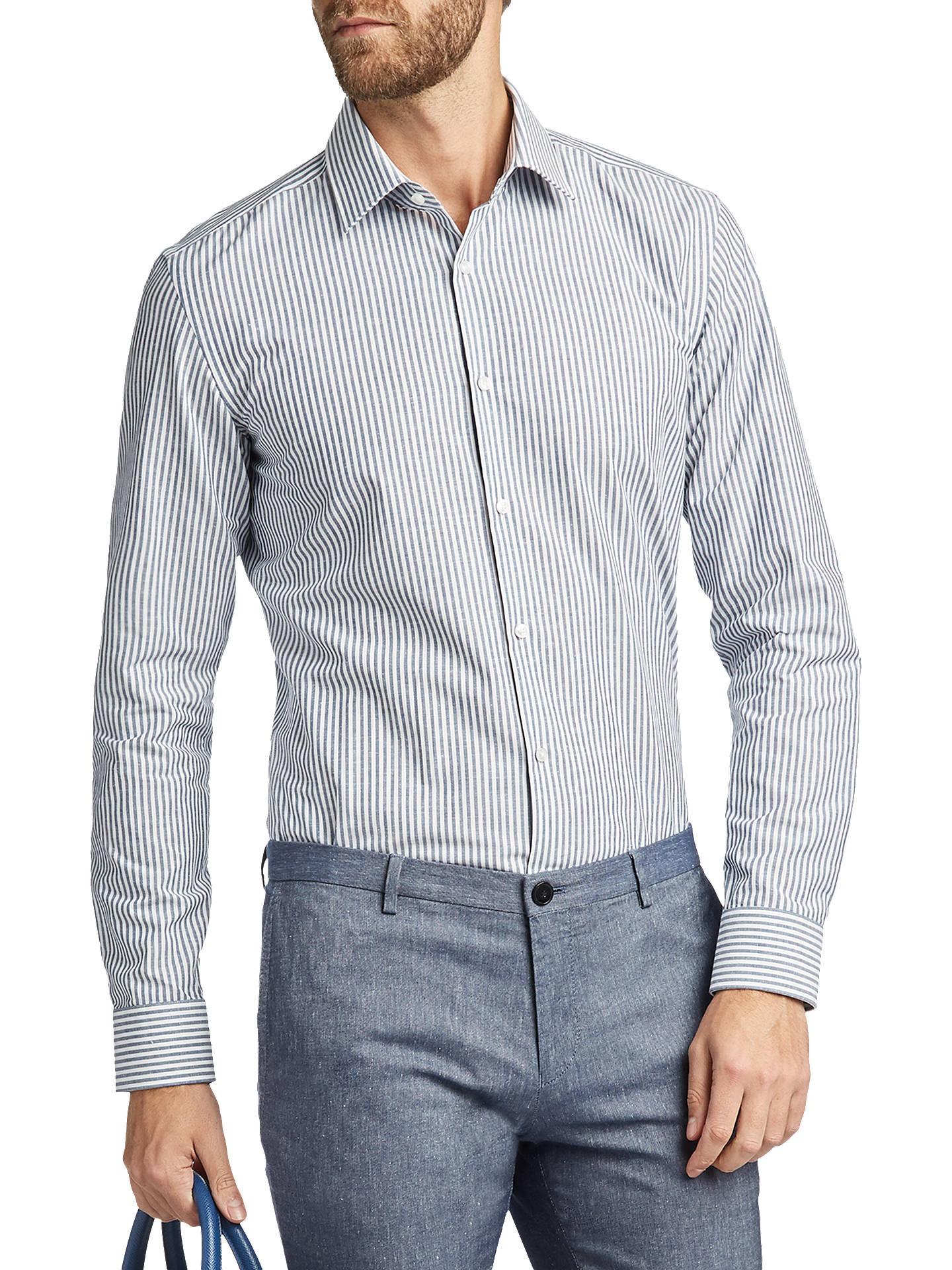 dbd220d16 HUGO by Hugo Boss C-Jenno Stripe Slim Fit Shirt, Navy at John Lewis ...