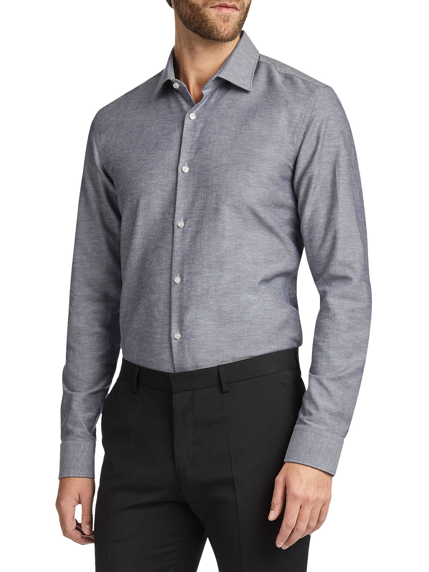 e0db707f3 HUGO by Hugo Boss C-Jenno Slim Fit Shirt, Navy at John Lewis & Partners