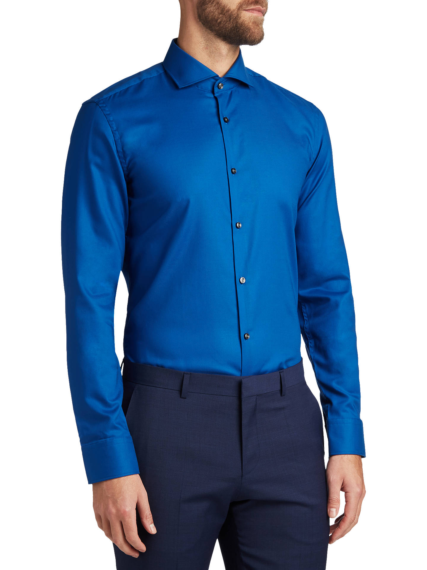 6762e3ca8 HUGO by Hugo Boss C-Jason Easy Iron Cotton Slim Fit Shirt, Open Blue ...