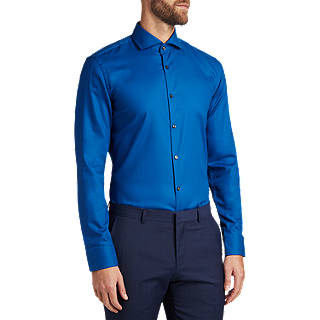 HUGO by Hugo Boss C-Jason Easy Iron Cotton Slim Fit Shirt, Open Blue