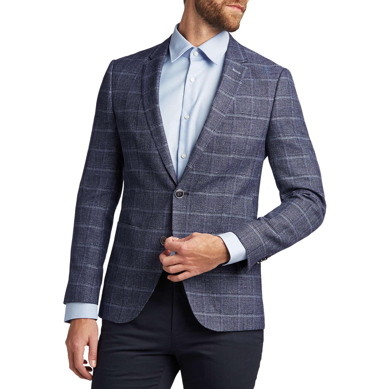 BuyHUGO by Hugo Boss Harvey Wool Linen Check Slim Fit Blazer, Navy, 36R  Online ...