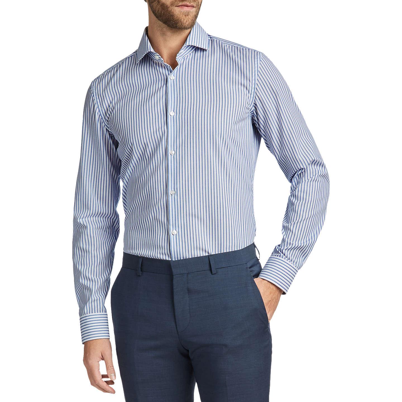 BuyHUGO by Hugo Boss C-Jason Stripe Cotton Slim Fit Shirt, Open Blue, ...