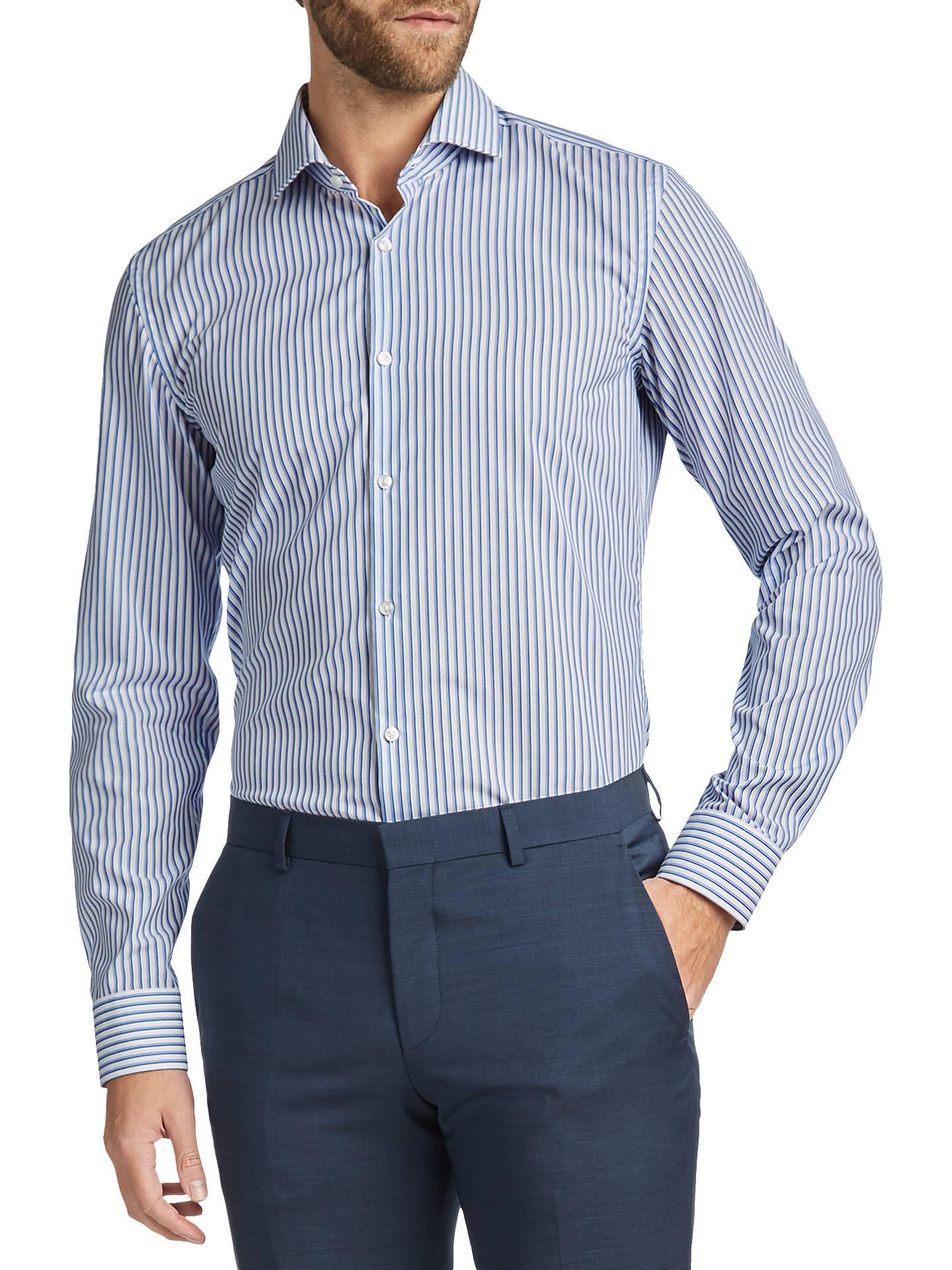 659d30443 Buy HUGO by Hugo Boss C-Jason Stripe Cotton Slim Fit Shirt, Open Blue ...