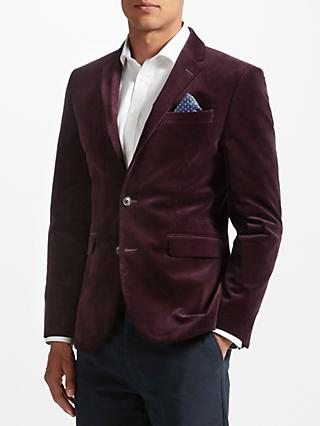 John Lewis & Partners Stretch Cord Tailored Blazer, Plum