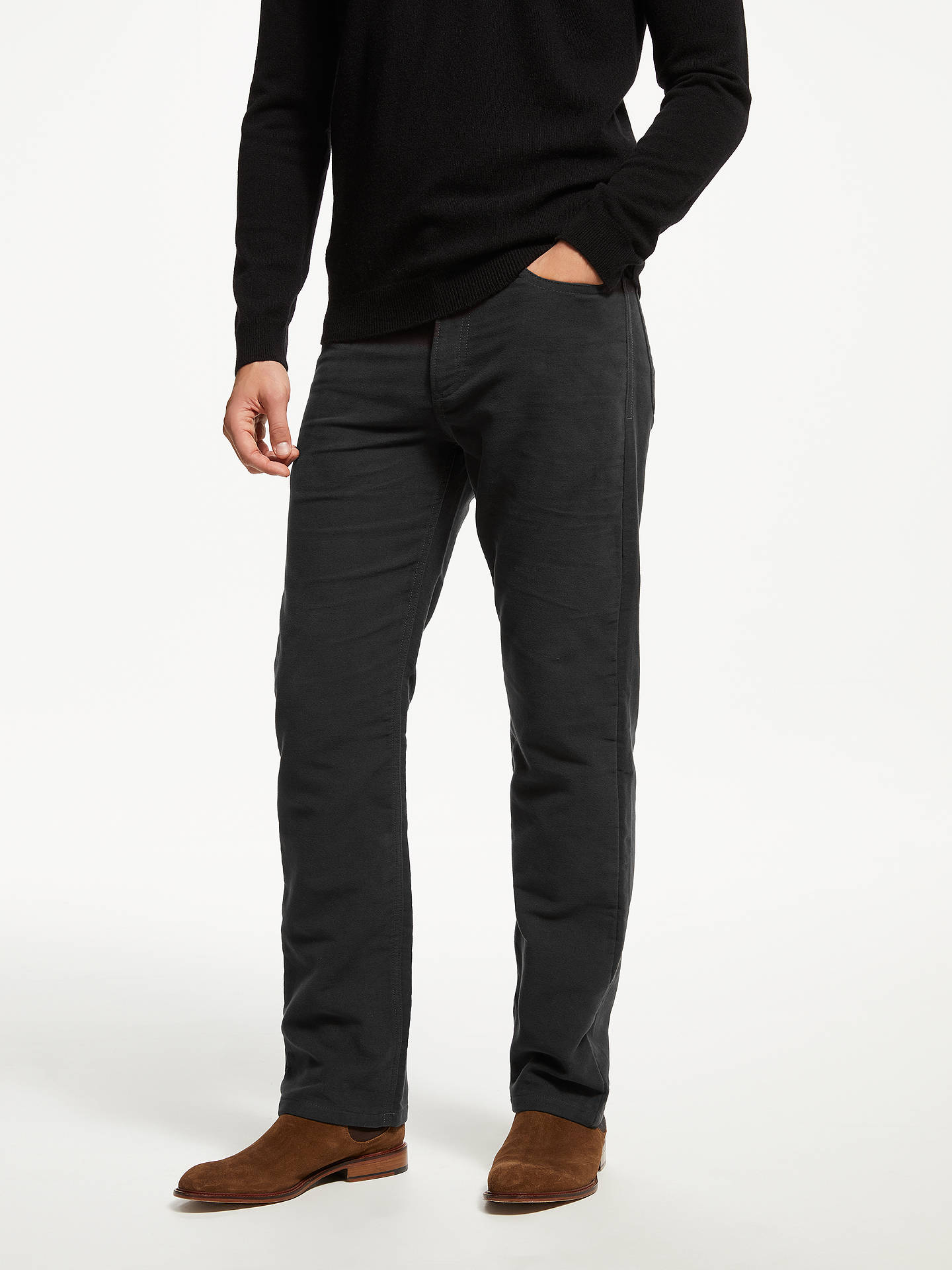 BuyJohn Lewis & Partners Cotton Moleskin Trousers, Charcoal, 34R Online at johnlewis.com