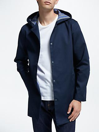 Kin Hooded Bonded Cotton Mac, Navy