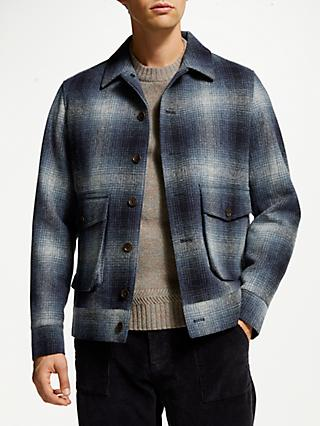 JOHN LEWIS & Co. Moons British Wool Check Lumber Jacket, Blue