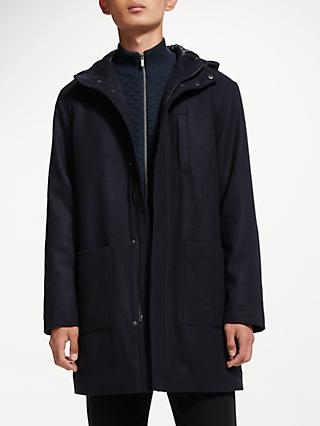Kin Padded Wool Parka, Navy