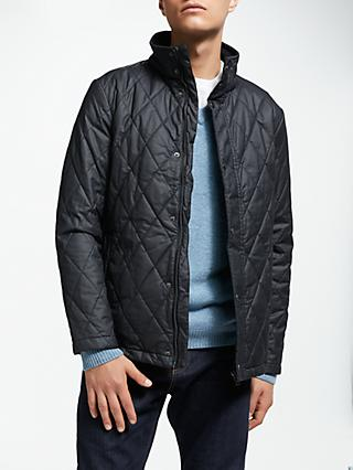 John Lewis & Partners Quilted Wax Cotton Jacket, Navy