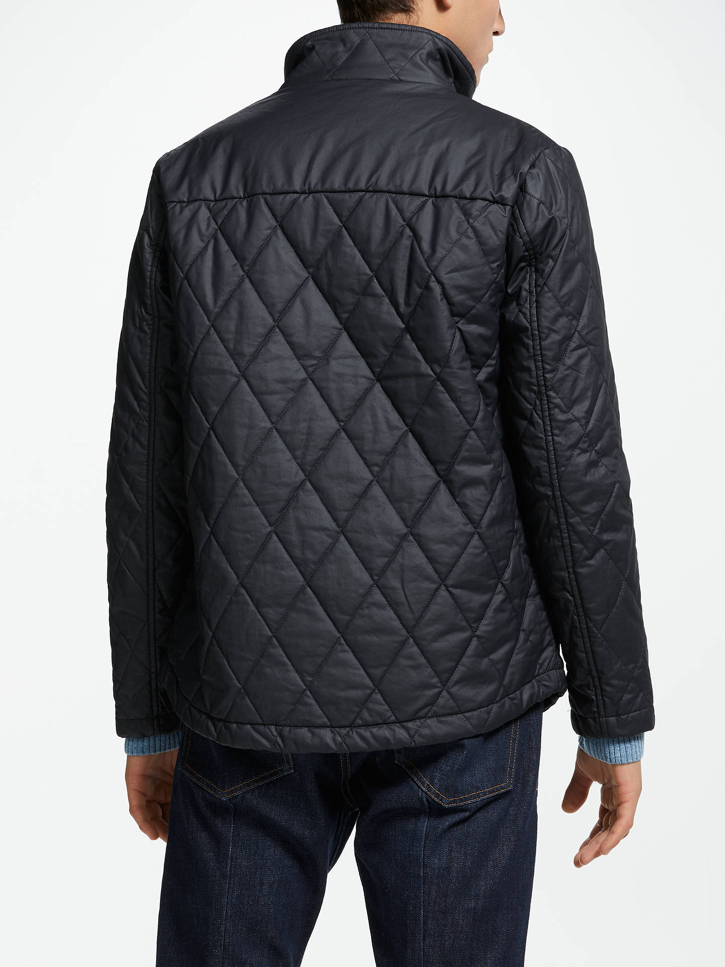 BuyJohn Lewis & Partners Quilted Wax Cotton Jacket, Navy, S Online at johnlewis.com