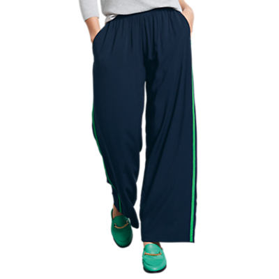 hush Contrast Trim Trousers, Midnight/Jolly Green
