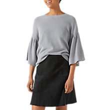 Buy Jigsaw Suede Fluted Skirt, Gravel Online at johnlewis.com