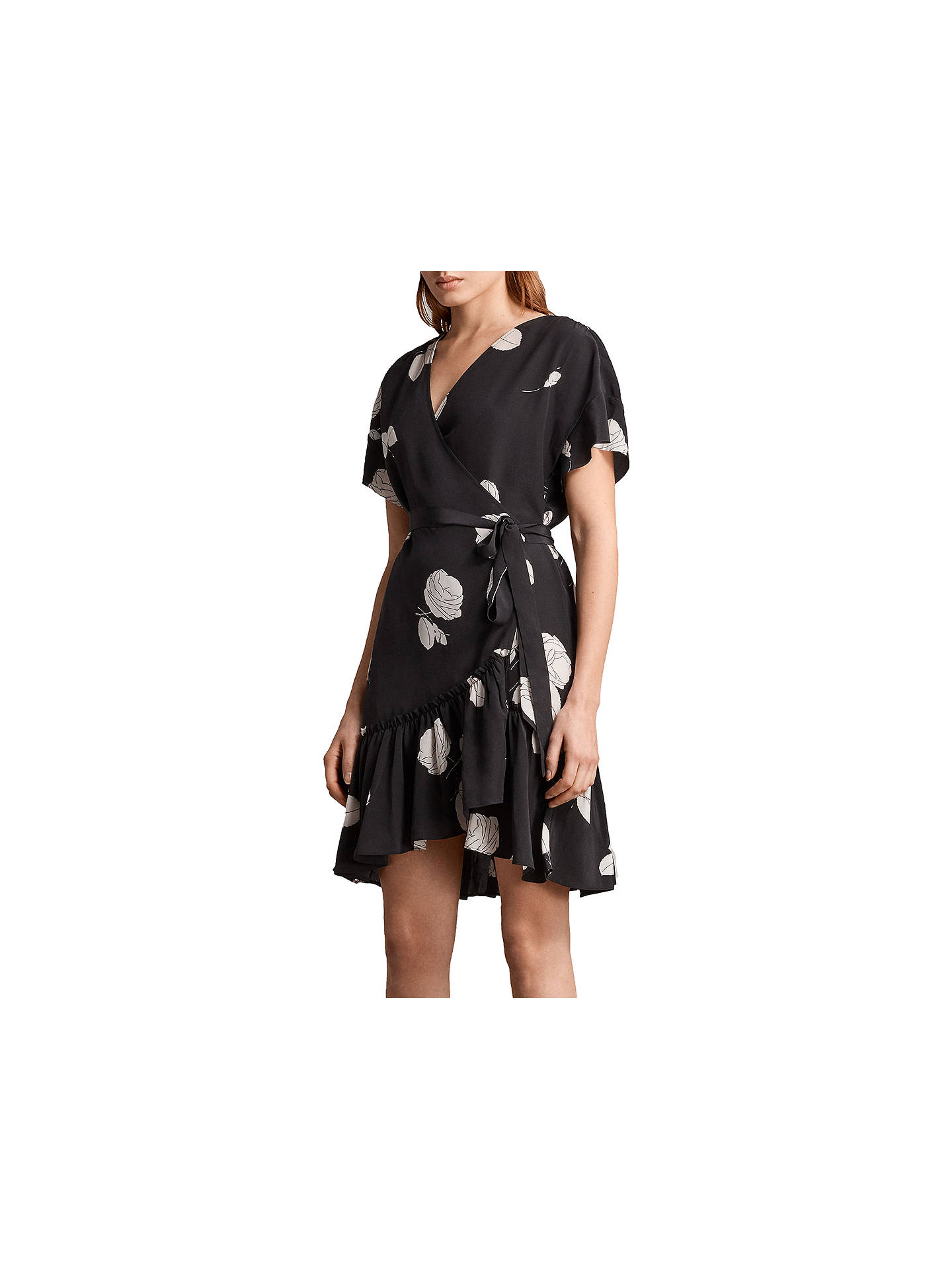 BuyAllSaints Rene Rodin Silk Dress, Black, 10 Online at johnlewis.com