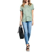 Buy hush Linen Star Cut Out T-Shirt, Granite Green Online at johnlewis.com