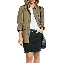 Buy hush Longline Embroidered Military Jacket, Khaki Online at johnlewis.com