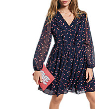 Buy hush Frill Mini Flared Dress, Leaf/Midnight Guava Online at johnlewis.com