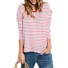 Buy hush Raw Edge Stripe T-Shirt, White Ski/Red Online at johnlewis.com