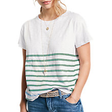 Buy hush Striped Slub T-Shirt, White/Granite Green/Placid Blue Online at johnlewis.com