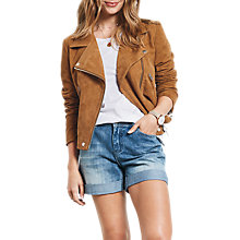Buy hush Suede Biker Jacket, Tan Online at johnlewis.com