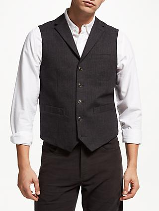 John Lewis & Partners Brushed Cotton Check Waistcoat, Charcoal