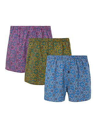 9d0c7479ef35 John Lewis   Partners Jafari Hex Print Woven Cotton Boxers, Pack of 3, Blue