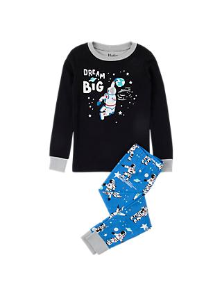 Hatley Boys' Dream Big Organic Cotton Pyjamas, Black/Blue