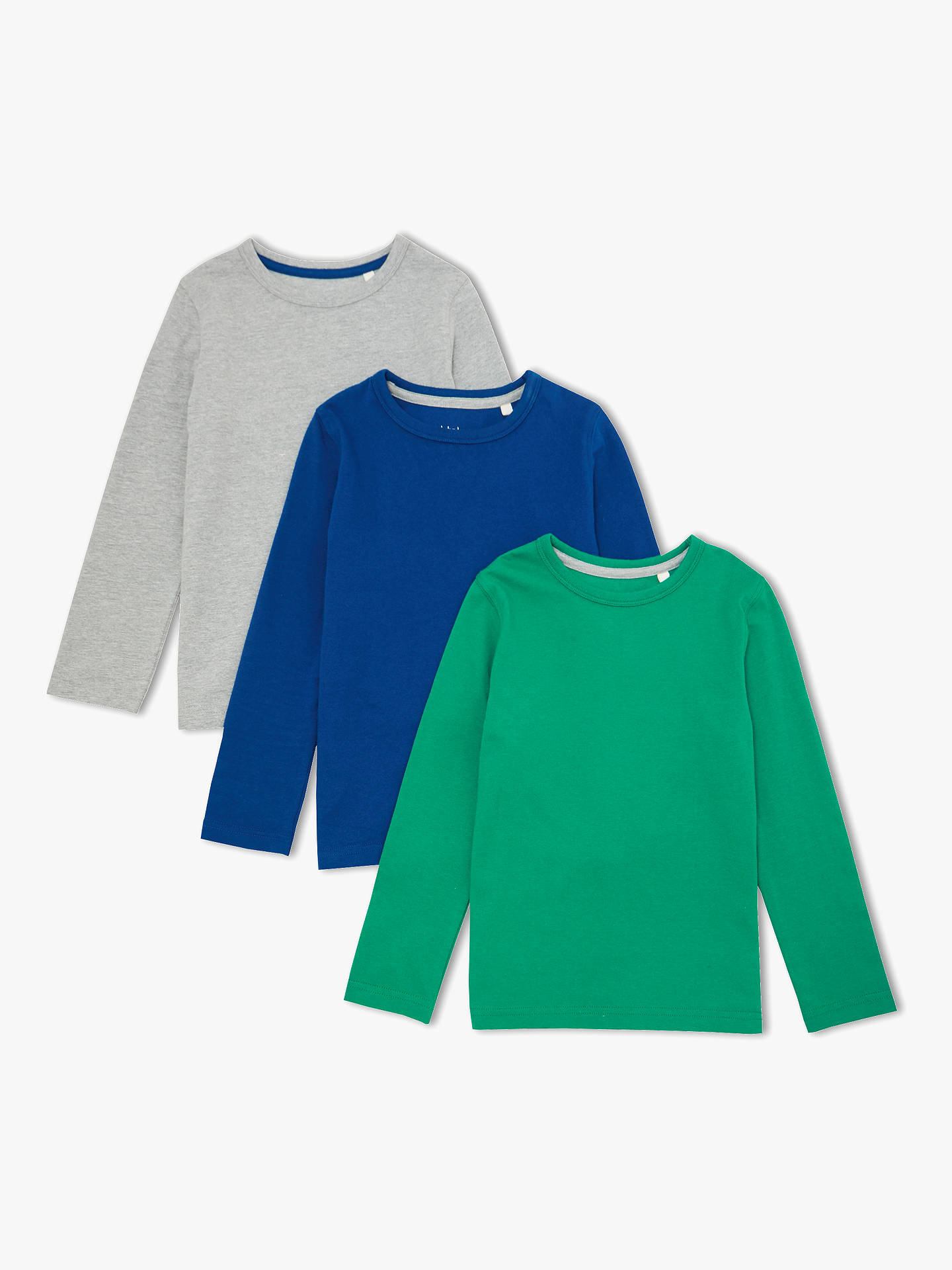 b31bfb80d1b2 John Lewis & Partners Boys' Cotton Long Sleeve Tops, Pack of 3, Blue ...