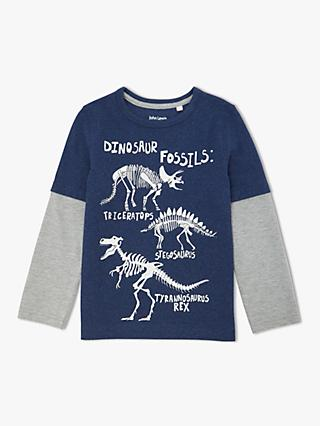 John Lewis & Partners Boys' Dinosaur Glow In The Dark T-Shirt, Navy