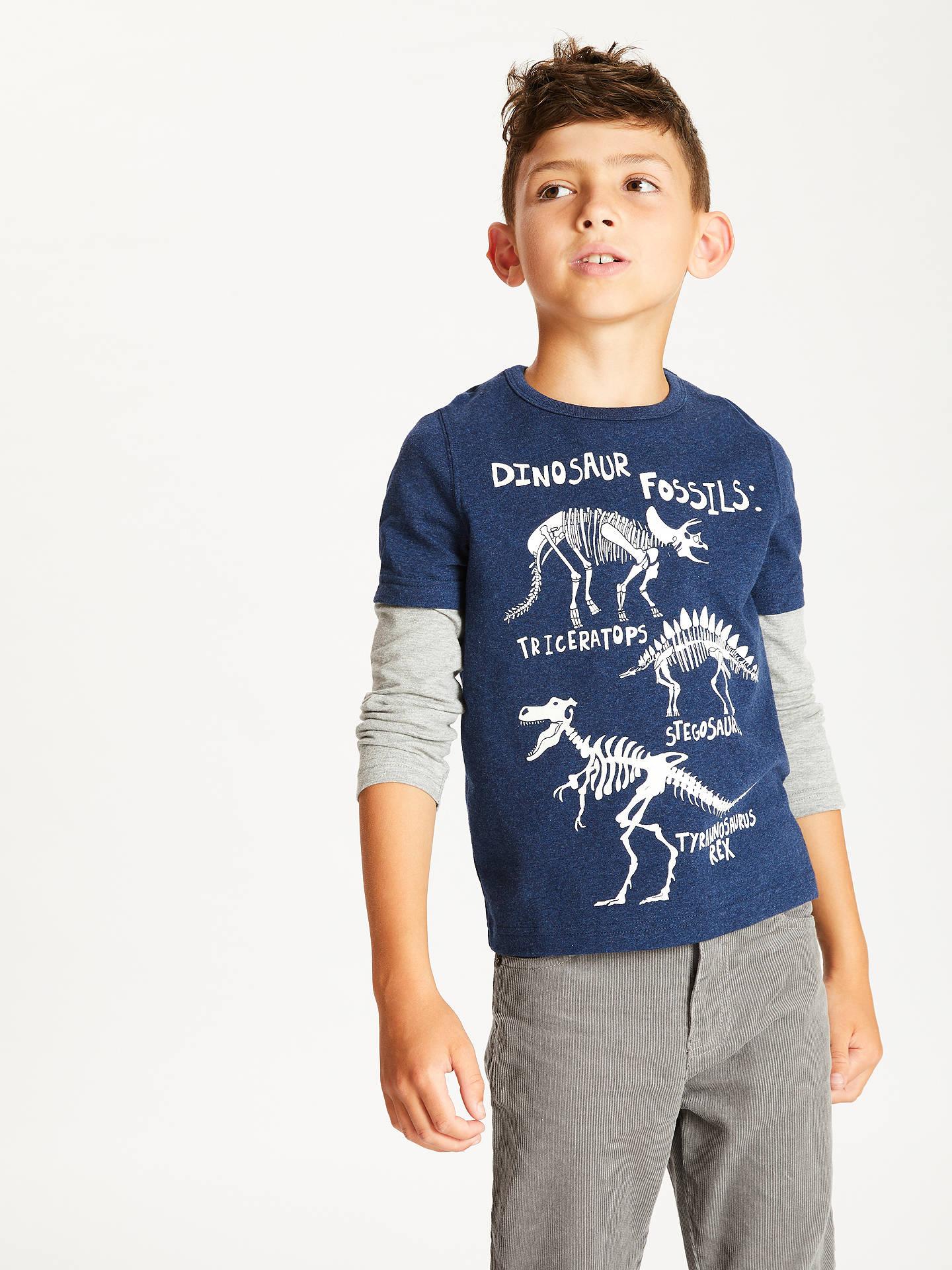 be2b0e27 John Lewis & Partners Boys' Dinosaur Glow In The Dark T-Shirt, Navy ...