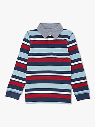 John Lewis & Partners Boys' Stripe Rugby Top, Blue/Red