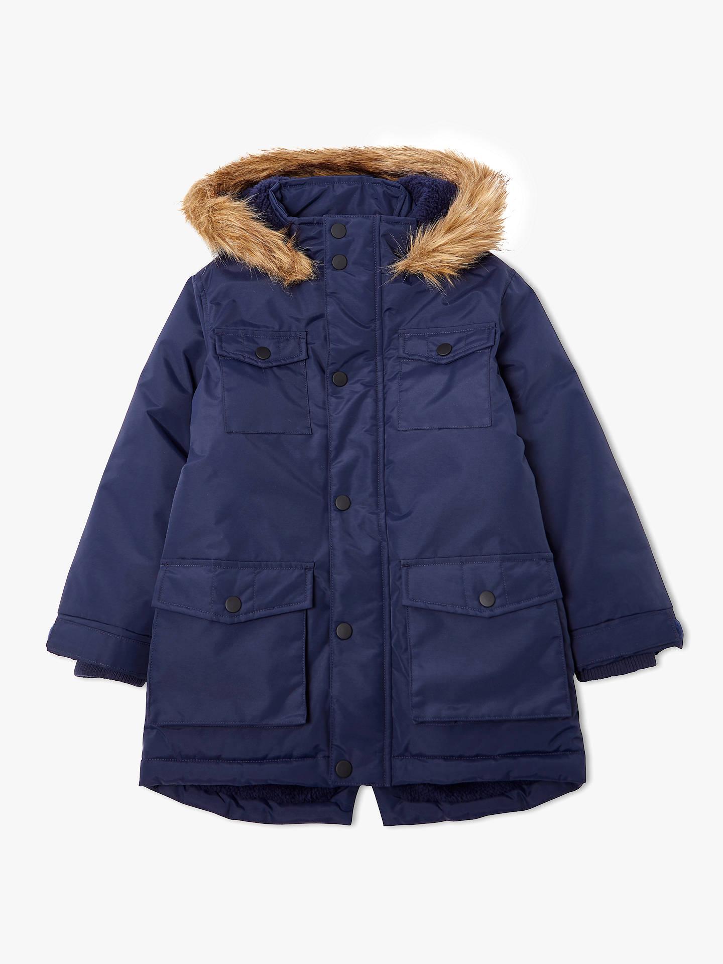 c48f1ac5221 Buy John Lewis & Partners Boys' Four Pocket Parka Coat, Navy, 2 years ...
