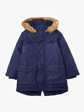 John Lewis & Partners Boys' Four Pocket Parka Coat, Navy