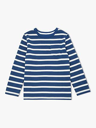 John Lewis & Partners Boys' French Rib Breton Stripe Top, Blue/White