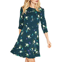 Buy Oasis Butterfly Floral Print Dress, Green/Multi Online at johnlewis.com