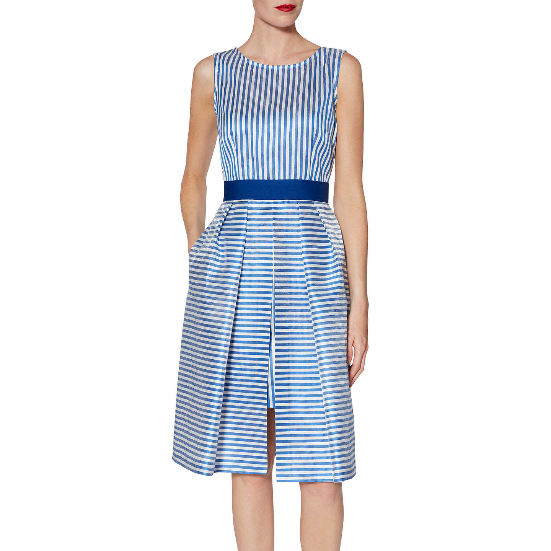 Gina Bacconi Elena Stripe Dress, Blue at John Lewis