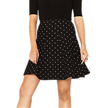 Buy Oasis Spot Flippy Skirt, Black/White Online at johnlewis.com