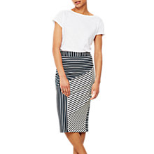 Buy Mint Velvet Blocked Stripe Skirt, Black/White Online at johnlewis.com