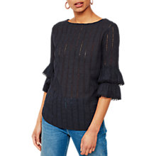 Buy Mint Velvet Frill Cuff Broderie Top, Dark Blue Online at johnlewis.com