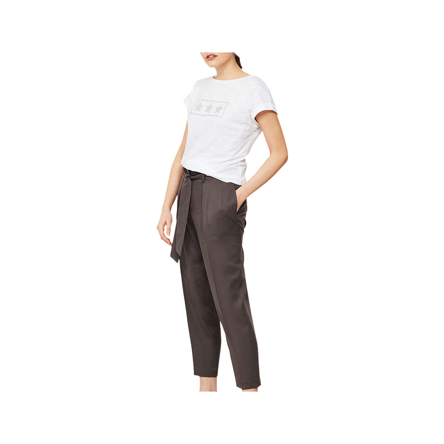 BuyMint Velvet Belted Paperbag Trousers, Grey, 6R Online at johnlewis.com