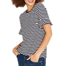 Buy Oasis Flute Sleeve Top, Navy Online at johnlewis.com